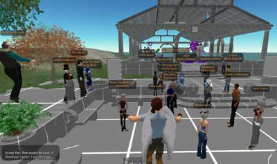 Gary floats above one of the Second Life newbie meeting area